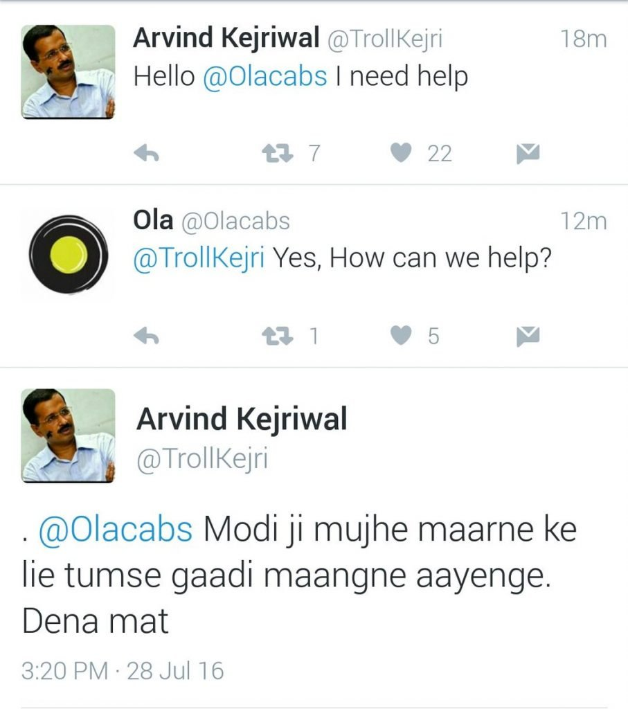 Parody of Arvind Kejriwal Trolled some Corporate Accounts