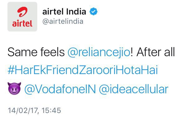 When Indian Telecom Companies wished Valentine's Day to each other