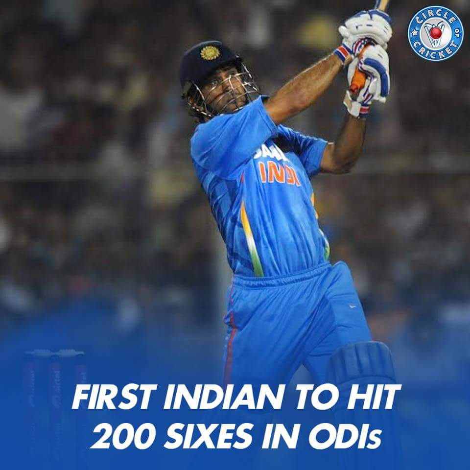 Mahendra Singh Dhoni becomes first Indian batsman to hit 200 sixes in ODIs