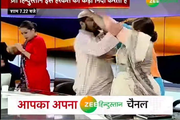 Muslim Cleric (Maulana) Slaps a Woman on Live TV Show