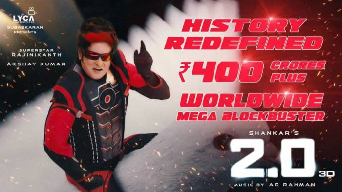 2.0 (2point0) Day 4 Box Office Collection | Movie Has Excellent First Weekend